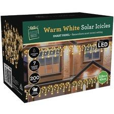 200 Warm White LED Solar Icicle Fairy Lights