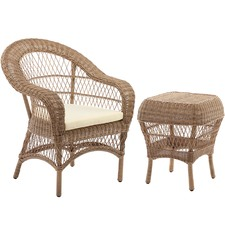 Raffles Rattan Outdoor Side Table & Armchair Set
