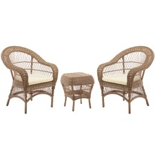 Raffles 3pc Outdoor Side Table & Armchair Set