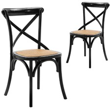 Bella Cross Back Elm Wood Dining Chairs (Set of 2)
