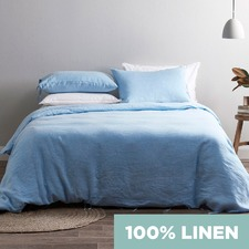Blue Vintage Wash Pure Linen Quilt Cover Set