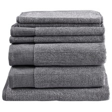 7 Piece Grey Plush Bathroom Towel Set