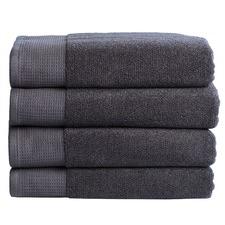 4 Piece Charcoal Plush Bathroom Towel Set