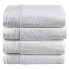 4 Piece White Plush Bathroom Towel Set