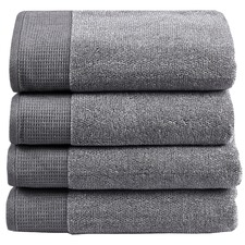 4 Piece Grey Plush Bathroom Towel Set