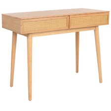Light Oak Daintree Rattan & Oak Console Desk