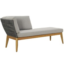 Lorne Eucalyptus Wood & Rope Outdoor Left Chaise