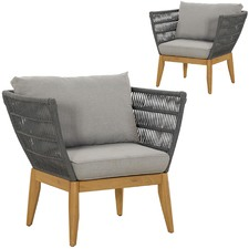 Lorne Eucalyptus Wood Outdoor Armchairs Set of 2