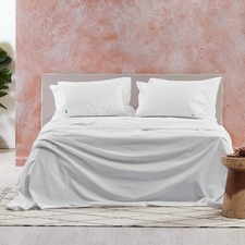 White Vintage Washed Cotton Sheet Set