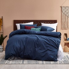 Dark Denim Vintage Washed Cotton Quilt Cover Set