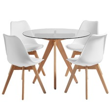 4 Seater White Nova Dining Table & Chairs Set