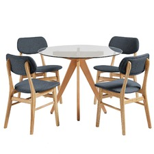 4 Seater Charcoal Soho Beech Wood Dining Table & Chairs Set