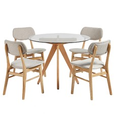 4 Seater Sand Soho Beech Wood Dining Table & Chairs Set