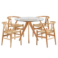 4 Seater Bryce Dining Table & Wishbone Chairs Set