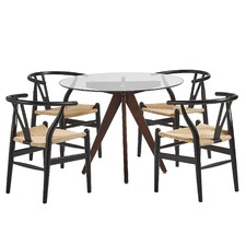 4 Seater Rowe Dining Table & Wishbone Chairs Set