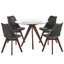 4 seater Black Nova Dining Table & Chairs Set
