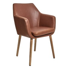 Oak & PU Leather Tan Darcy Carver Chair