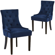 Navy Windsor Velvet Dining Chairs (Set of 2)