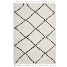 Black & Cream Viona Fringed Rug