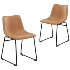 Phoenix Vintage-Style Faux Leather Dining Chairs (Set of 2)