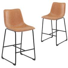66cm Phoenix Vintage-Style Faux Leather Barstools (Set of 2)