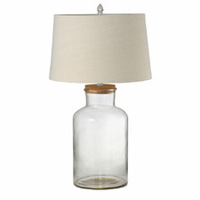 Large Fillable Clear Vessel Lamp & Shade