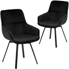 Black Krystoffer Velvet Swivel Dining Chairs (Set of 2)