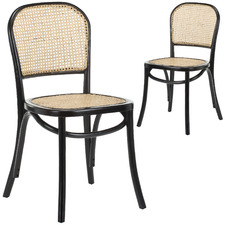 Luca Bentwood Elm & Rattan Dining Chairs (Set of 2)
