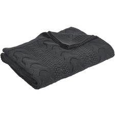 Charcoal Cable Knitted Cotton Throw