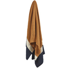 Mustard Stripe Knitted Cotton Throw