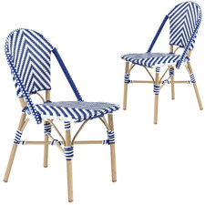 Blue & White Paris PE Rattan Cafe Dining Chairs (Set of 2)