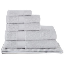 6 Piece Light Grey Aspen 550GSM Turkish Cotton Towel Set