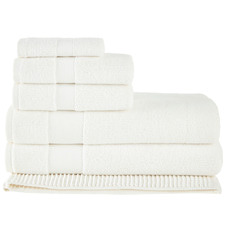 6 Piece White Aspen 550GSM Turkish Cotton Towel Set