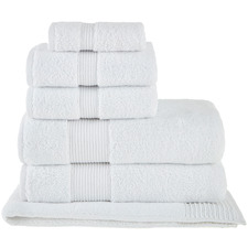 6 Piece White Grand 800GSM Turkish Cotton Towel Set
