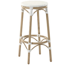 76cm White Paris PE Rattan Outdoor Cafe Barstool