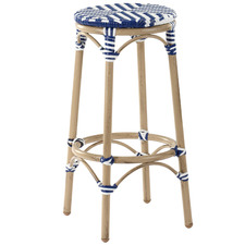 76cm  Blue Paris PE Rattan Cafe Barstool