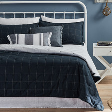 White & Navy Grid Organic Cotton Coverlet Set