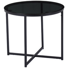 Smoked Siena Round Glass Side Table