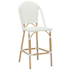 64cm White Paris PE Rattan High Back Bar Stool