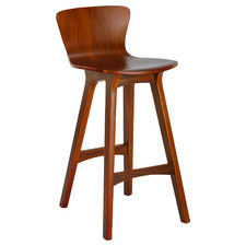 64cm Walnut Nobu High Back Barstool