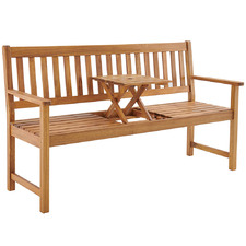 3 Seater Barbados Wooden Outdoor Bench with Built In Table