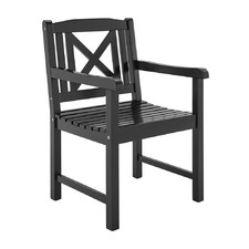 Black Santa Cruz Acacia Wood Outdoor Armchair