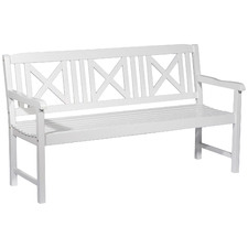 White Santa Cruz 3 Seater Acacia Wood Outdoor Bench