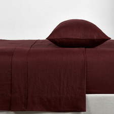 Wine French Linen Sheet Set