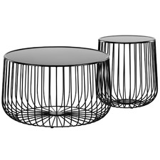 2 Piece Black Trevi Coffee & Side Table Set