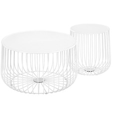 2 Piece White Trevi Coffee & Side Table Set