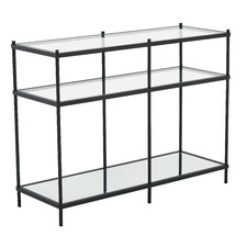 Black Francesca Glass Console Table