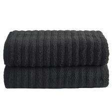 Black Ribbed 600GSM Turkish Cotton Bath Sheets (Set of 2)