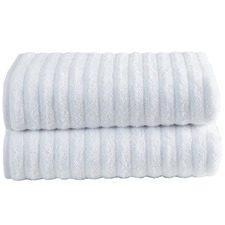 White Ribbed 600GSM Turkish Cotton Bath Sheets (Set of 2)