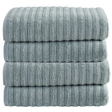 Seafoam Ribbed 600GSM Turkish Cotton Bath Towels (Set of 4)